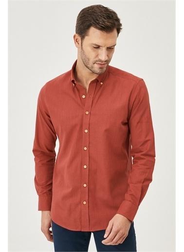 AC&Co / Altınyıldız Classics Tailored Slim Fit Dar Kesim Düğmeli Yaka %100 Koton Gömlek 4A2021200056 Bordo